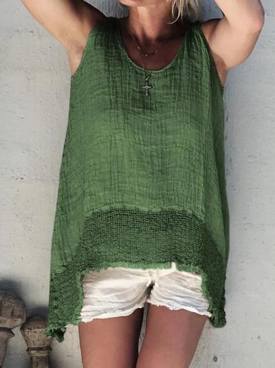 Sleeveless Linen Round Neck Casual Tops