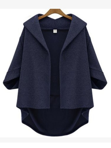 Casual Asymmetric High-Low Solid 3/4 Sleeve Plus Size Coat