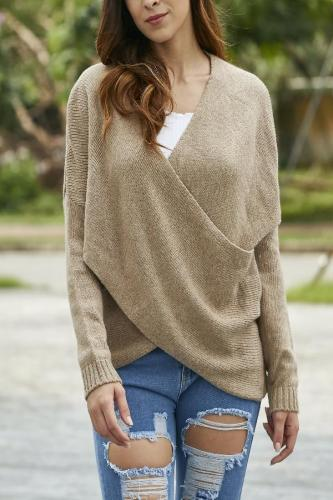 Solid Color Cross V-Neck Sweater