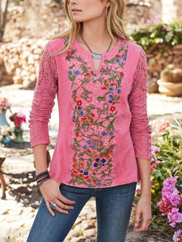 Cotton Guipure Casual Long Sleeve Shirts & Tops