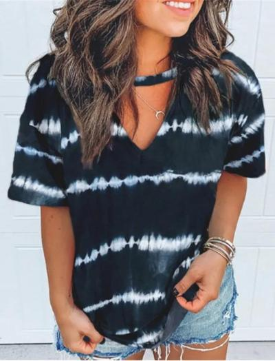 Black Ombre/tie-Dye Short Sleeve Shirts & Tops