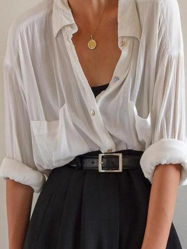 White Shirt Collar Long Sleeve Casual Shift Shirts & Tops