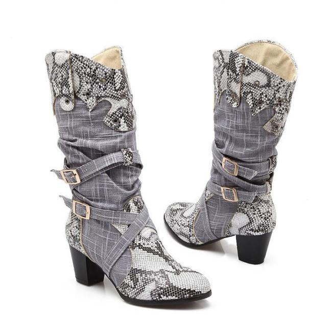 Women Snakeskin Pattern PU Chunky Heel Mid Calf Boots Artificial Leather Booties