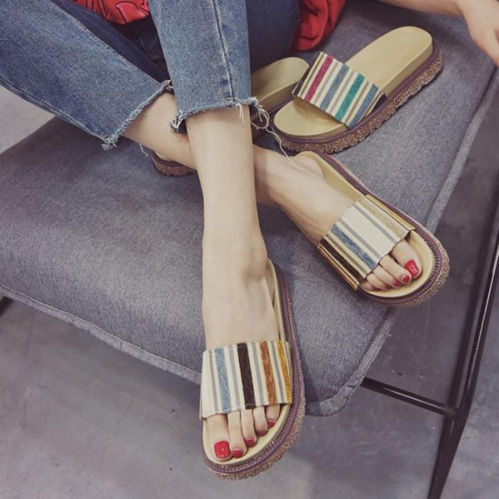 Women Creepers Slippers Casual Comfort Peep Toe Shoes