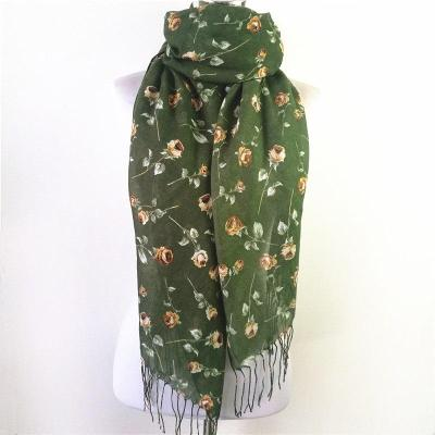 New Fashion Autumn Winter Scarf for Women viscose Tassel Shawl Printed flower small rose Scarf For Female Scarves Echarpe