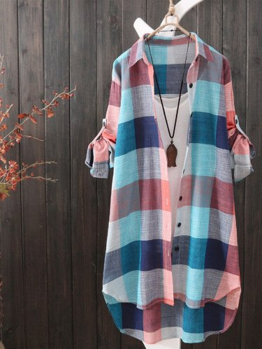 Plus Size Women Loose Long Sleeve Plaid Casual Jacket Shirt Tops