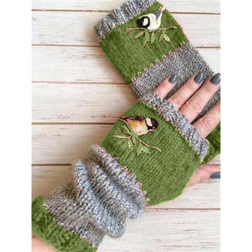 Embroidery Knitted Fingerless Plus Velvet Color Block Splice Mittens Women Gloves