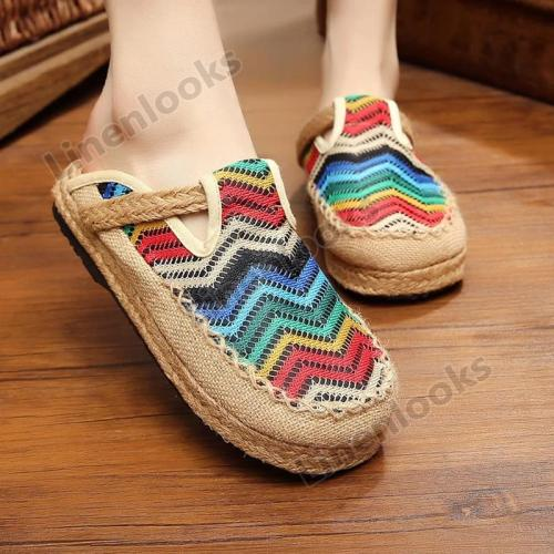 Women's Summer Candy Colors Boat Rope Flip Flops Canvas Shallow Mouth Slippers Flat Shoes