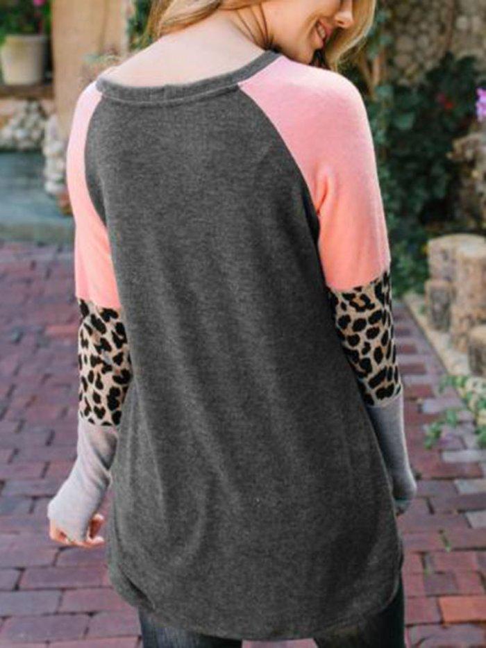 Casual Leopard Print Patchwork T-shirt