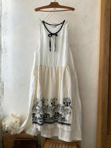 Plus Size Crew Neck Floral Vintage Cotton-Blend Dresses