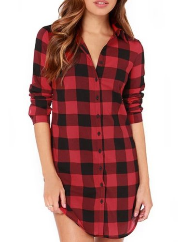 Checked Plus Size Winter Spring/Fall Shirts