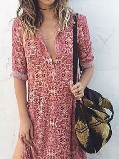 Warm Grey Floral Polyester Fall Dress
