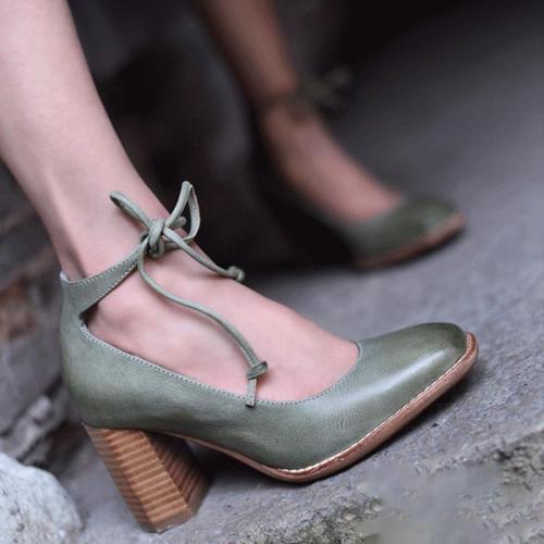 Women's Elegant Chunky Heel Lace-Up Pumps