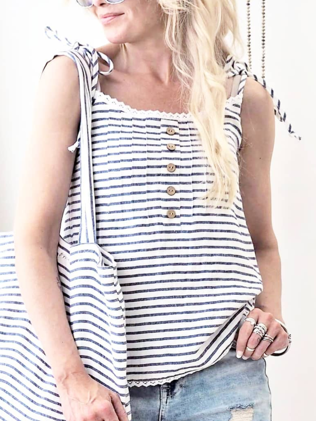 Striped Sleeveless Cotton-Blend Casual Shirts & Tops