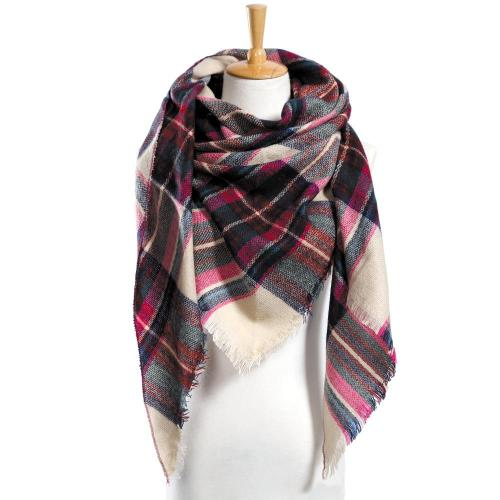 Winter Scarf Women Plaid Scarf Warm Designer Triangle Cashmere Shawls Women's Scarves