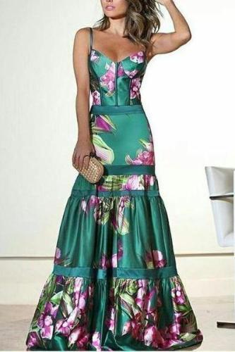 Fashion Sexy Floral Plunge Ruffles Layered Hem Evening Dress Fishtail Dress