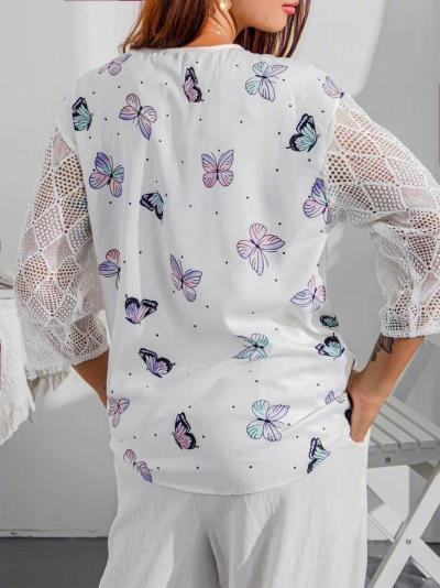 Short Sleeve Floral Cotton-Blend Shirts & Tops