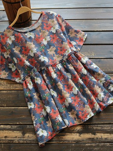 Casual Crew Neck Floral Shirts & Tops