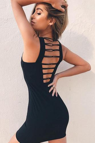 Square Neck  Hollow Out Plain Bodycon Dresses