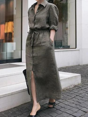Shirt Collar Gray Women Dresses Daily Vintage Linen Dresses