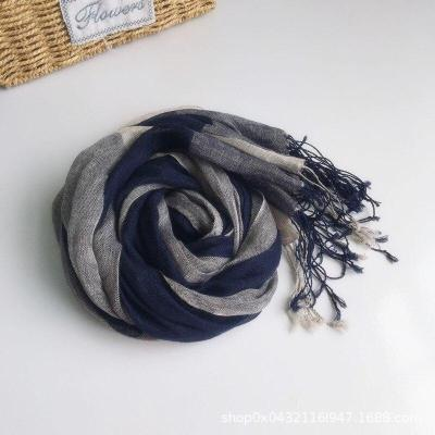 Fashionable Cotton and Linen Checked Scarf, Woman Spring and Autumn Personalized Decorative Scarf