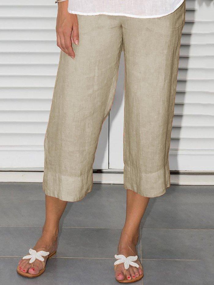 Plus Size Elastic Waist Solid Short Pants