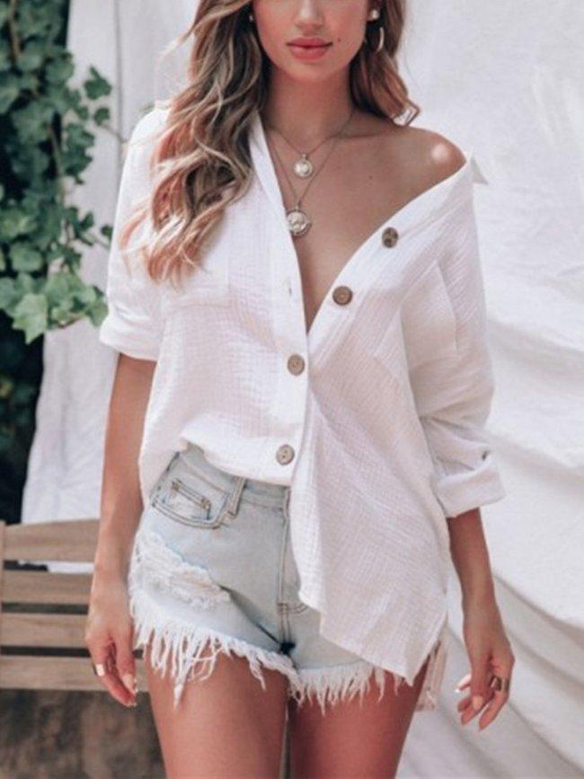 White Cotton Long Sleeve V Neck Shirts & Tops