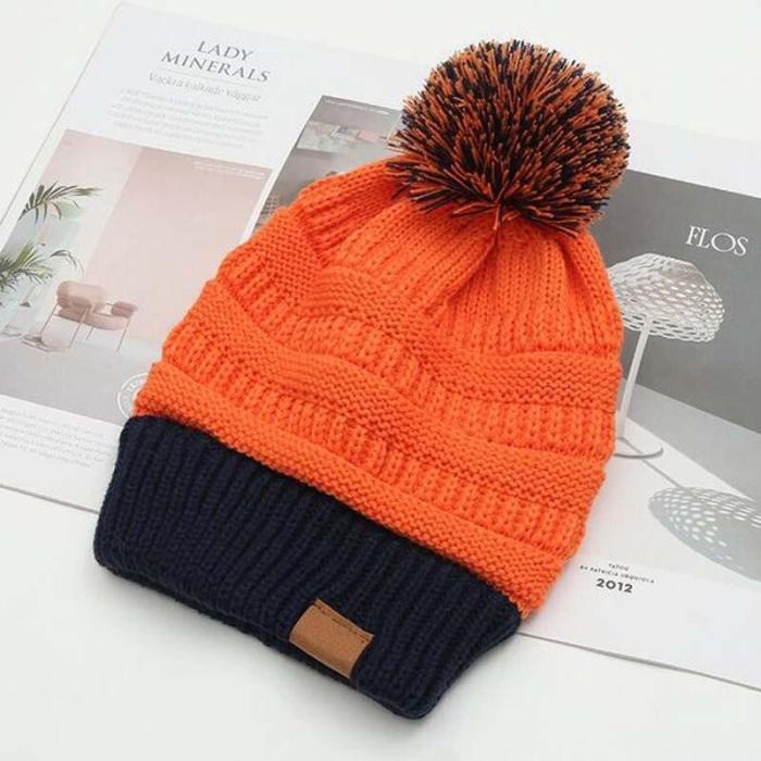 Korean Fashion Double Color Knitted Caps Brand Autumn Winter Hats Women Upset Add Wool Inside Skullies Beanies Pompom