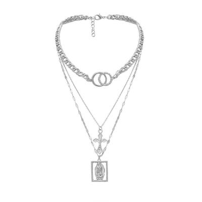 Vintage Metal Gold Necklace Multi-layer Cross Choker Geometric Necklace