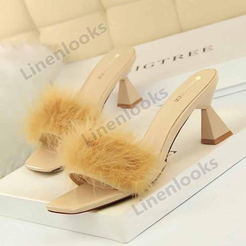 Fashion Slippers Female Thick High Heel Square Open Toe Fluffy Slippers