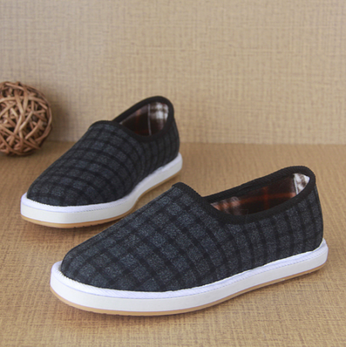Tartan Flat Heel Casual Color Block Cotton Loafers