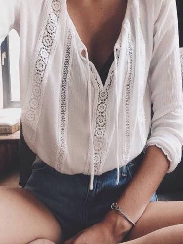 White V Neck Cotton Plain Casual Shirts & Tops