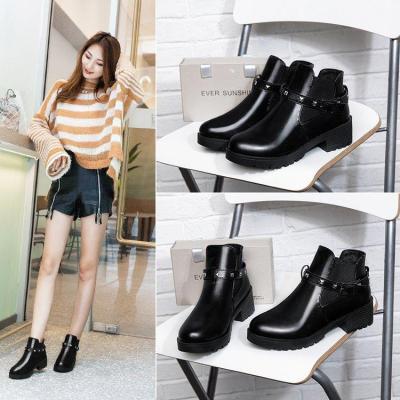 Women Adjustable Buckle Chunky Heel Spring/Fall Boots