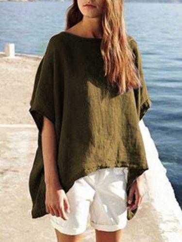 Short Sleeve Asymmetrical Simple & Basic Solid Shirts