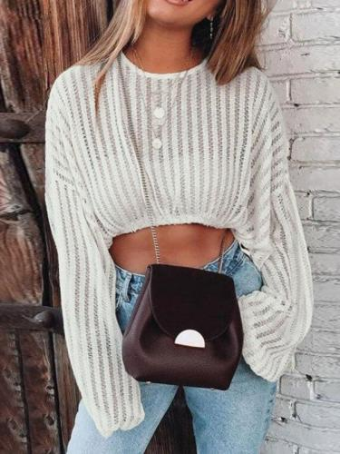 Sweater Short Open-neck Cutout Beach Bikini Top Sweaters  Knit Sweater Women Short