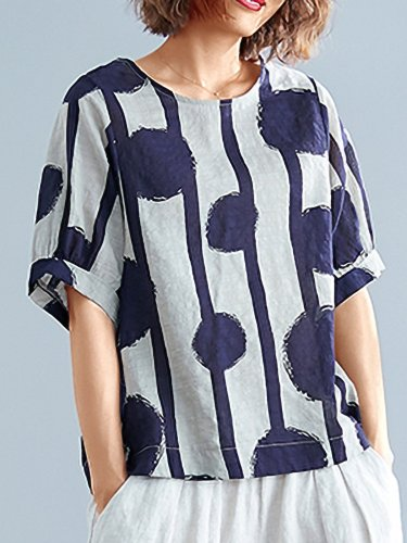 Plus Size Women Short Sleeve Round Neck Vintage Striped Polka Dots Floral Casual Tops