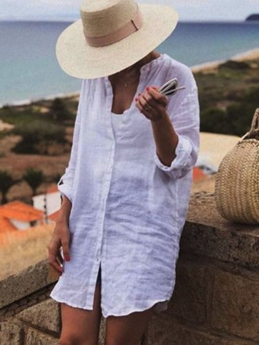White Cotton-Blend Long Sleeve Plain Shirts & Tops