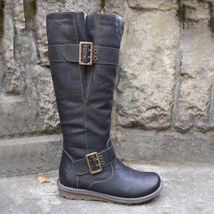 Women's casual buckle zipper boots