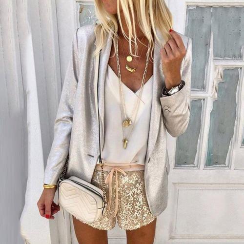 Women's Fashion Pure Color Long Sleeve Tailored Collar Blazer