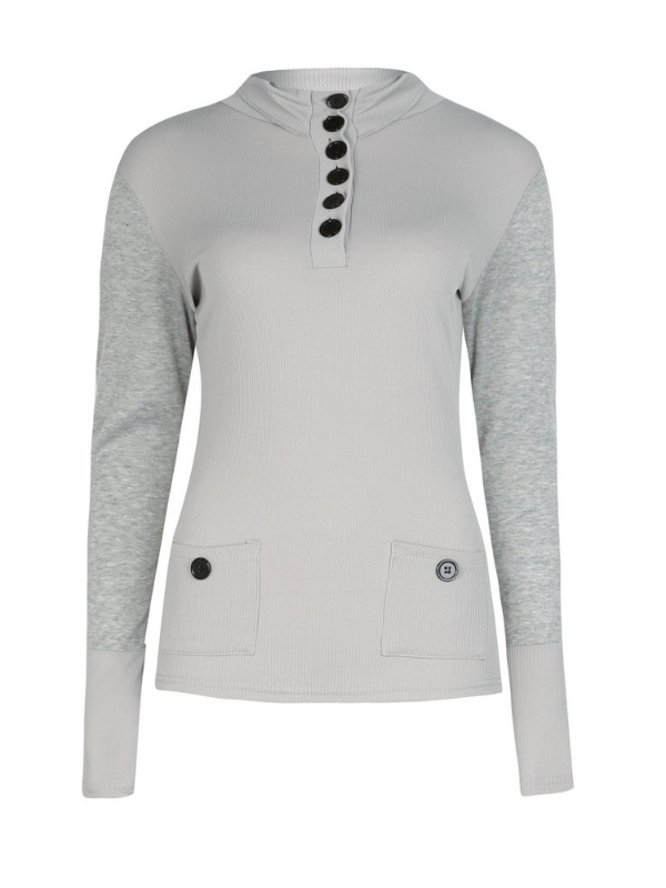 Buttoned Long Sleeve Appliqued Bodycon Sweaters
