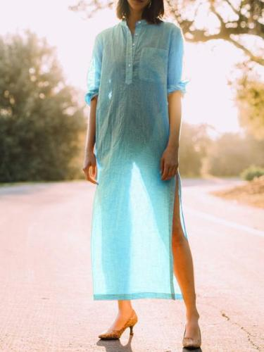 Buttoned Casual V Neck Long Sleeve Dresses