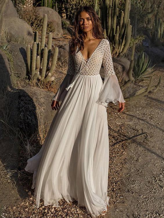 Beige V Neck Casual Maxi Dresses