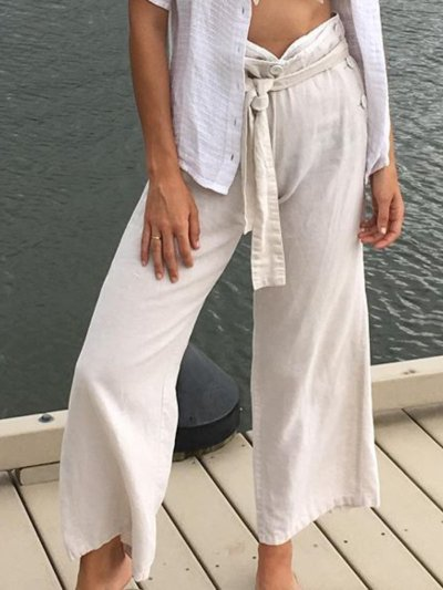 White Holiday Solid Cotton Buttoned Pants