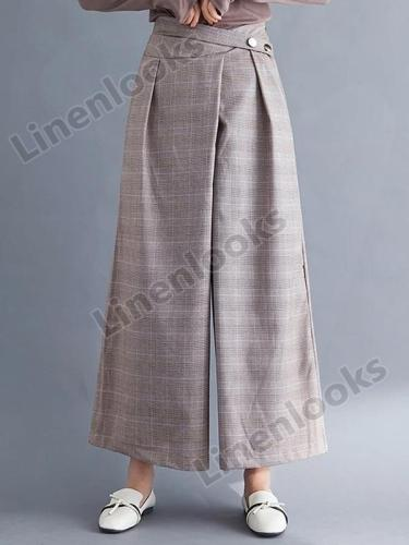 Cotton Linen Vintage Plaid Plus Size High Waist Casual Loose Ladies Trousers Wide Leg Pants