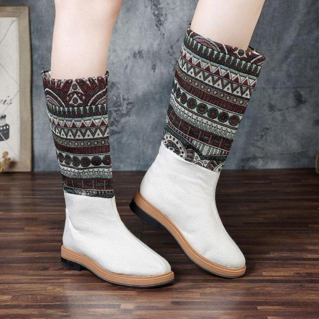 Women Bohemian Cloth Mid Calf Flat Vintage Boots
