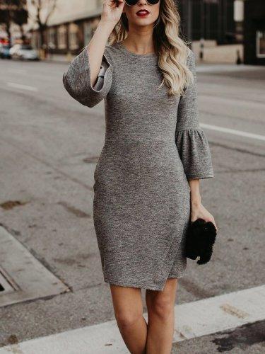 Bodycon Elegant Plain Dress