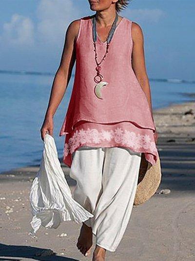 Asymmetrical Sleeveless Linen Shirts