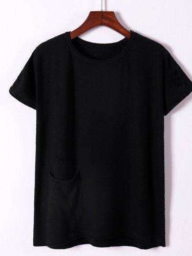 Casual Cotton-Blend Pockets Short Sleeve Shirts & Tops