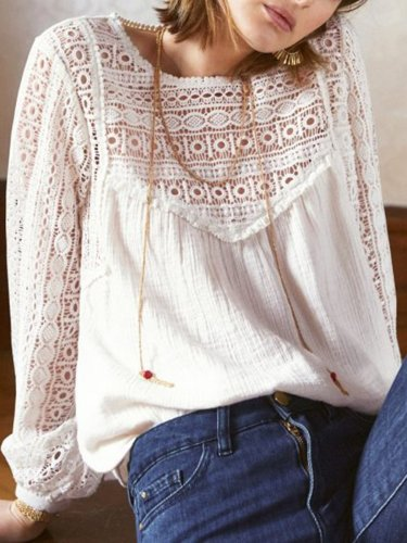 White Paneled Casual Solid Shirts & Tops