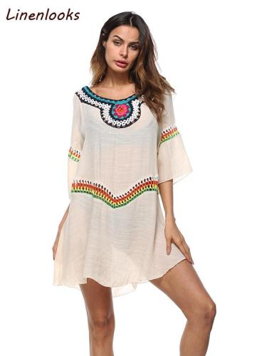 Loose Casual Beach Hollow Out White O Neck Boho Mini Dresses